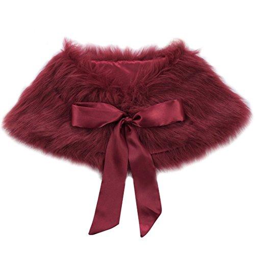 MSemis Girls Princess Faux Fur Flower Bolero Shoulder Cape Bridesmaid Party Shawl Stole Shrug Burgundy One Size