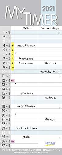 My Timer 2021: Familienkalender mit 2 breiten Spalten. Hochwertiger Familienplaner mit Ferienterminen und Vorschau bis März 2022.