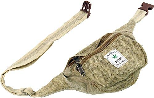 GURU-SHOP Práctica Bolsa de Cinturón de Cáñamo, Riñonera étnica, Bolsa Lateral - Natural, Unisex - Adultos, 30x20 cm, Bolsas Laterales Para Cinturón
