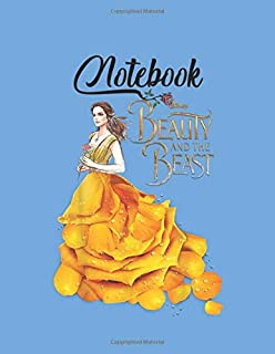 NoteBook: Disney Beauty The Beast Belle Golden Dress Graphic Blank Vinetage Floral Notebook Marble Large Size 8.5in x 11in...