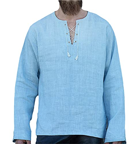 Ctcegtxfx Hombres Algodón Lino T Shirt Masculino Color Sólido V Cuello Vendaje Camisetas Casual Manga Larga Camiseta de Lino, azul, XXL