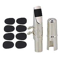 Yibuy サックスマウスピース マウスピースパッチ 楕円形 7C テナーサックス用 ニッケルメッキ 食品グレードのシリコーンゴム製 27x21x0.8mm シルバー&ブラック