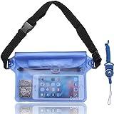 Danyee 防水ポーチ IPX8取得済み 3重チャック PVC素材 (ブルー) 海水浴 プール ウエストバッグ 防水パック 防水 携帯 (ブルー)