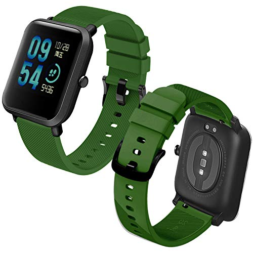 Th-some Correa para Amazfit Bip Impermeable Universal - Reemplazo de Pulsera Ajustable para Xiaomi Huami Amazfit Bip bit Lite Youth/Amazfit GTR 42mm Watch, Verde Oscuro Sin Tracker