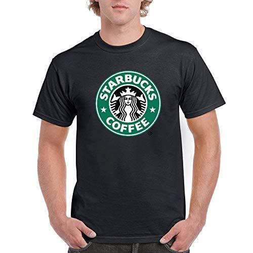 AAAFOUR Men's/Herren Starbucks Green Logo Cotton Neck T-Shirt