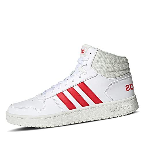 adidas Mid Hoops 2.0 Mid - Zapatillas deportivas para hombre, Footwear White Vivid Red Cloud White Gz7927, 41 1/3 EU