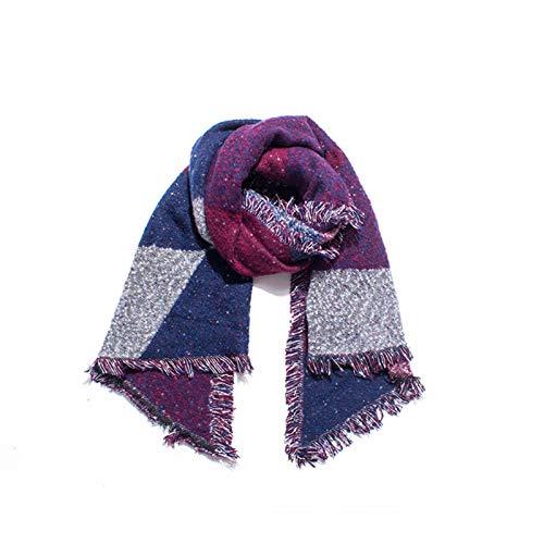 Shenme Damas 'otoño e Invierno espesando círculo Arena Manta Fleece Comprobar Bufanda Bufanda cómodo y cálido Babero Chal de Doble Cara (Color : C)