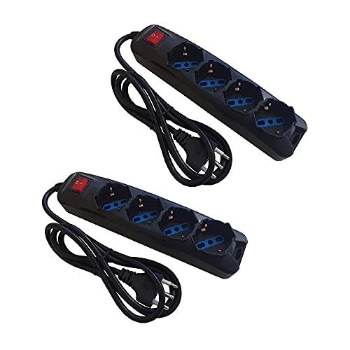 Juego de 2 regletas Pegaso de polivalente bipaso Schuko/16 A, cable 1,5 m, con interruptor luminoso, carga máxima 3500 W (4 plazas (juego de 2 unidades)