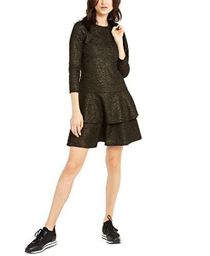 Michael Michael Kors Shimmer Double Tier Dress Black/Gold XL