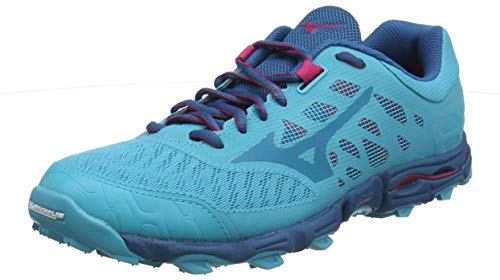 Mizuno Wave Hayate 5, Zapatillas de Trail Running para Mujer, Azul Pavo Real Esmalte Azul Rosa Brillante 26, 38 EU