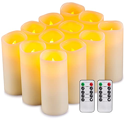Flameless Candles Flickering LED Candles Set of 12 (D:2.2' X H:5') Ivory Real Wax Pillar Battery Opeated Candles with 10-Key Remote and Cycling 24 Hours Timer