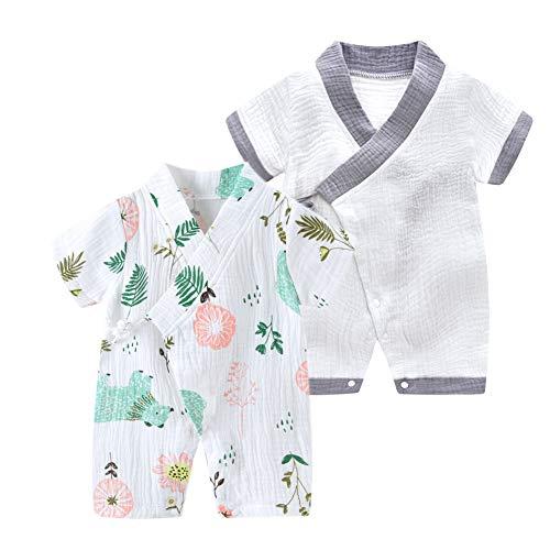 JooNeng Newborn Baby 2-Pack Cotton Kimono Robe Romper One Piece Toddler Unisex Cute Short Sleeves Pajamas Sets,Grey Bear