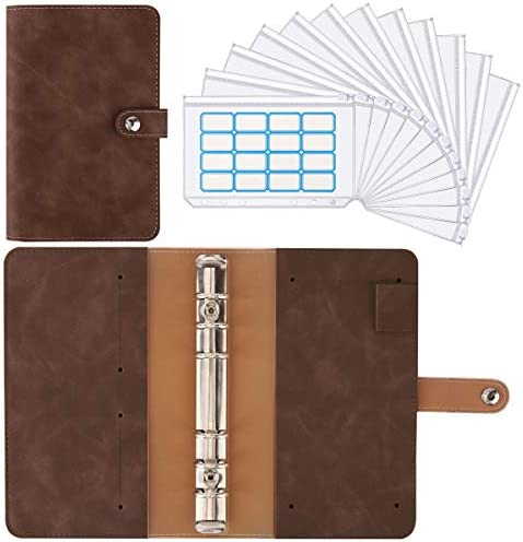 Housolution A6 Notebook Budget Binder PU Leather Loose Leaf Folder Binder Cover with 12 PCS product image