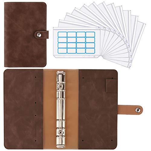 Housolution 6 Löcher Loseblatt Notizbuch, Binder Notebook aus PU Leder mit 12 Stück A6 PVC Binderumschlägen Etikettenaufklebern Binder Notizbuch Ringbuchordner - Kaffee