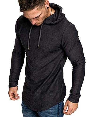 lexiart Mens Fashion Athletic Hoodies Sport Sweatshirt Solid Color Fleece Pullover Black L