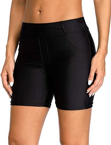 Anwell Damen Schwimmshorts Bademode Schwimmen Badehose Schwarz Sonnenschutz UPF 50+ Schnelltrocknend mit Tasche M