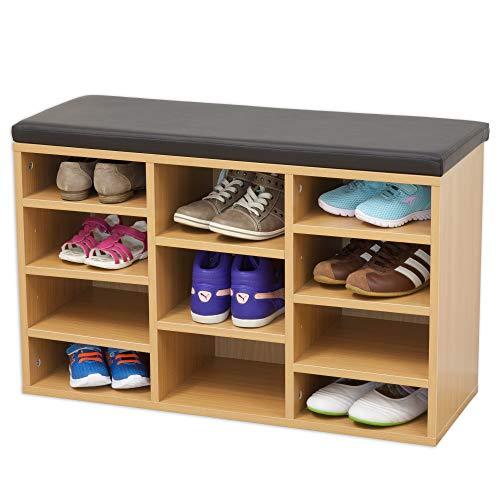 *Albatros Schuhschrank mit Sitzkissen Vincent (M) – Buche – Neues Modell mit 11 Fächern und Klicksystem! 80 x 48 x 30cm (BxHxT)*