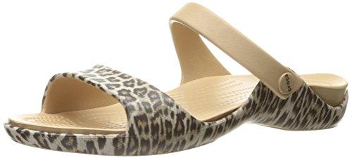 crocs Damen Cleovgrphsndlw Wedge Sandal, Mehrfarbig (Leopard/Black), 34-35 EU