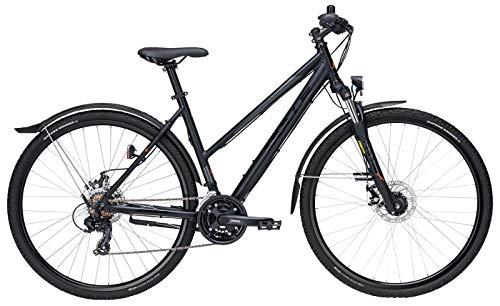 Damen Fahrrad 28 Zoll - Bulls Wildcross Street - Shimano 21-Gang Kettenschaltung, Suntour Federgabel, Nabendynamo, schwarz matt/orange