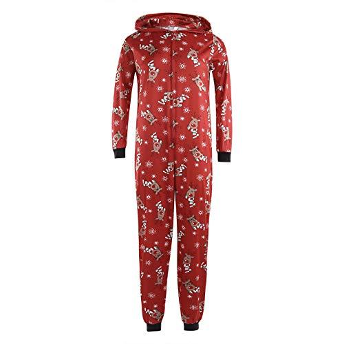 Familie Weihnachten Kapuzenpullover Overall Pyjamas Nachtwäsche Hirsch Langarm Sweatshirt Bodys Kleidung (Mama/M, Rot)