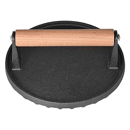 Prensa para barbacoa, prensa de carne, peso para barbacoa, diámetro redondo, 17,5 cm, de hierro fundido con mango de madera, pesador de carne