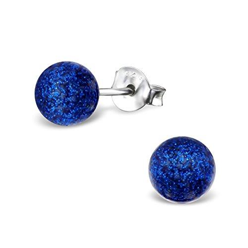 Laimons Pendientes mujer Esfera Azul Brillante Plata