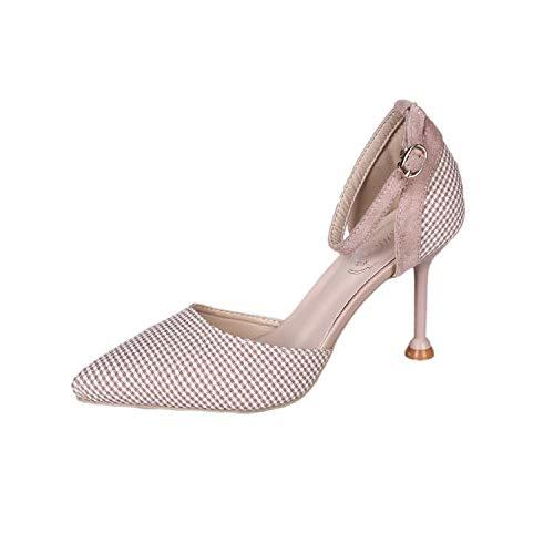 ZQXDMM High Heels, spits toelopend teengebied, zomer-sandalen voor dames (kleur: roze, maat: 35)