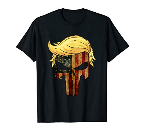Skull With Iconic Trump Hair President Flag America...