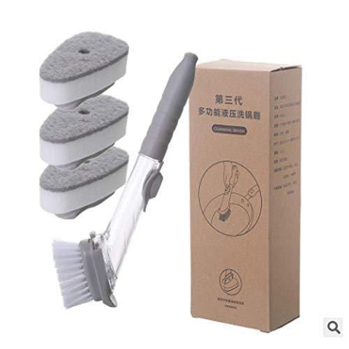 Cepillo para lavar platos con dispensador de líquido Depurador Esponja multifuncional para lavar platos de cocina Limpiador perezoso para el hogar