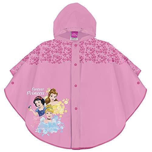 PERLETTI Mantellina Pioggia Principesse Disney - Poncho Impermeabile Bambina Principesse - Mantella Antipioggia con Cappuccio e Bottoni - Stampa Disney - Rosa con Fiori Fucsia - PVC (3/4 Anni)