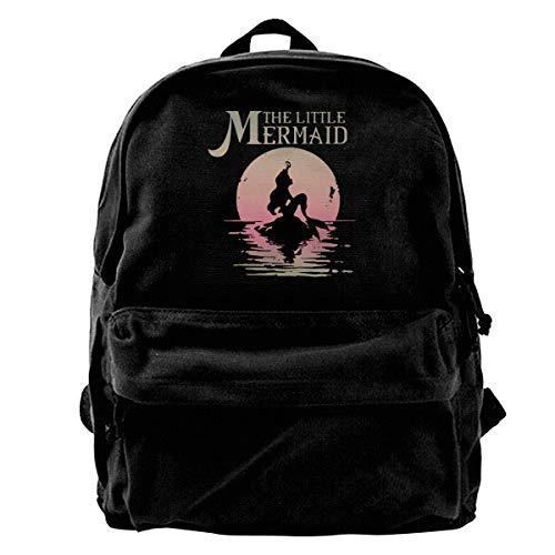 The Little Mermaid マーメイド ムーン シルエット リュックサック メンズ リュック バックパック キャンバスバック ショルダーバッグビジネスリュック 大人 メンズ レディース リュック オシャレ 大容量 学生 通勤 通学 旅行 アウトドア 黒