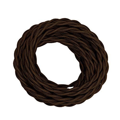 Creative Hobbies Brown Twisted Cloth Covered Wire, 25 Foot Roll, 18/2 Antique Industrial Fabric Electrical Cord Cable, Vintage Style Lamp Repair Replacement