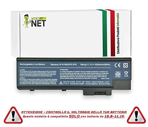 New Net - Batteria da 5200mAh Compatibile con Notebook Acer TravelMate 2430 2460 4010 4022 4060 4070 4080 4210 4222 4270 4500 4670 2300LC 2300LCi 2300LM 2300NLC 2300NLCi 2301 2301LC 2301LCi