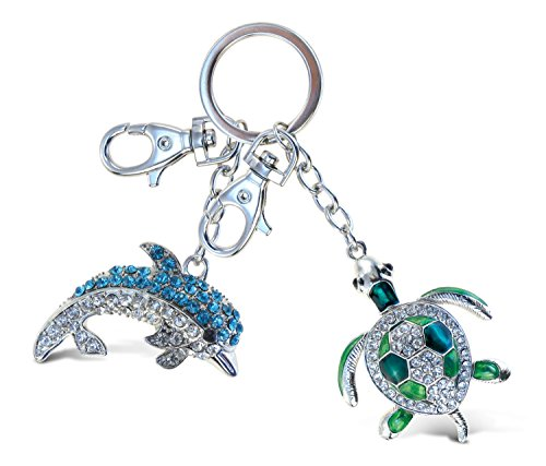 Puzzled Green Sea Turtle and Blue Dolphin Sparkling Charms - Ocean Sea Life Theme - Set of 2 - Unique and Useful Gift and Souvenir - Item #K6528-6508