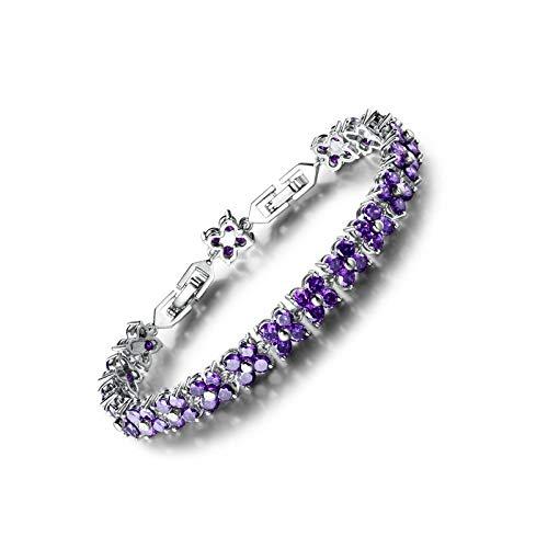 Oro blanco galvanizado latón púrpura zirconia cúbica cristal mujeres tenis para regalo de cumpleaños aniversario
