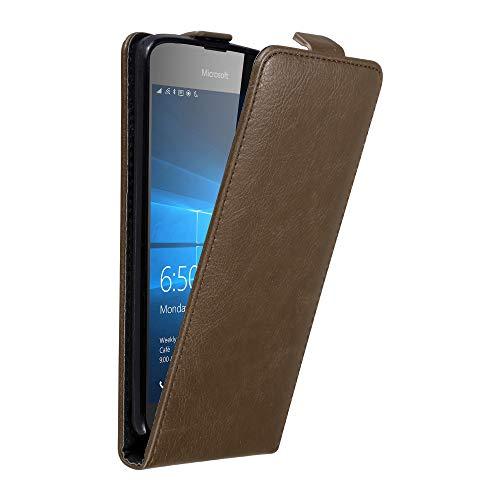 Cadorabo Funda para Nokia Lumia 650 in MARRÓN CAFÉ - Cubierta Proteccíon Estilo Flip con Cierre Magnético - Etui Case Cover Carcasa