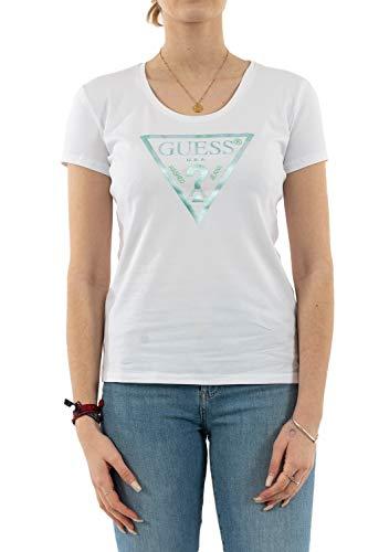 Guess Damen Ss Vn Peace Tee T-Shirt, Verde Acqua, M