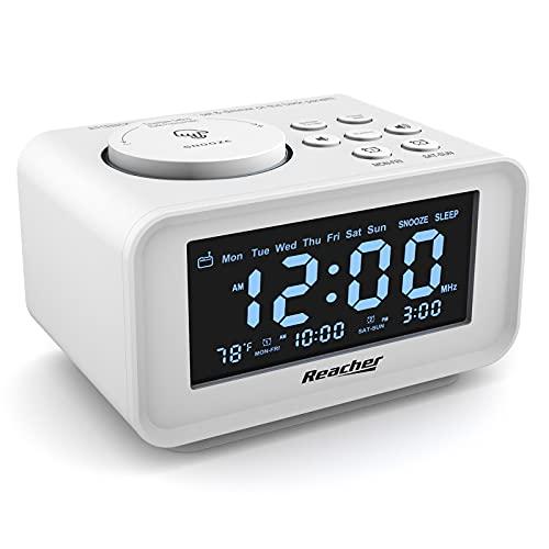 REACHER - Radio despertador digital con 2 puertos de carga USB, 0-100% atenuador, fin de semana/semana, termómetro, 6 sonidos de volumen ajustables, temporizador de sueño, alimentación de CA, batería de reserva para dormitorio (blanco)
