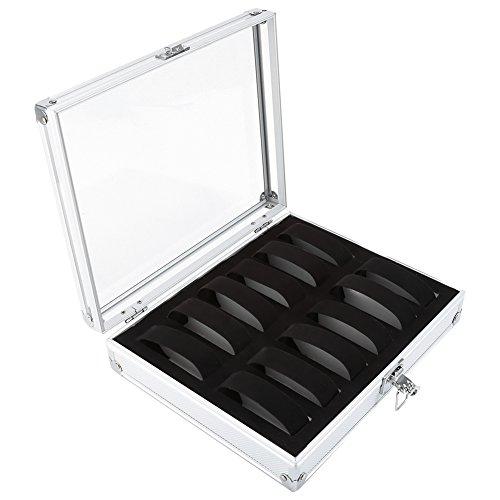 Acouto Caja de Almacenamiento de Reloj, 1 Pieza 6/12 Ranuras de Rejilla Rectángulo de Aluminio Reloj Exhibición de Joyería Caja Organizadora de Almacenamiento Caja Adecuada para Guardar(12)
