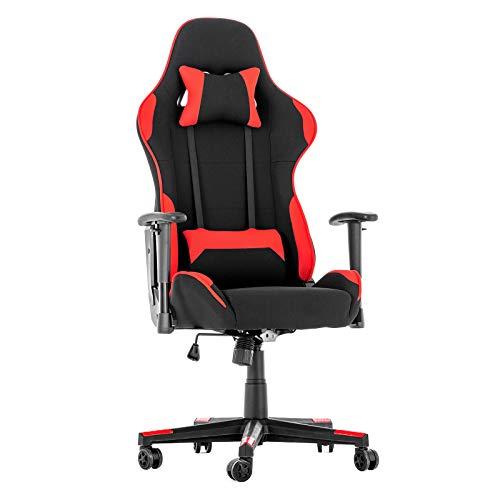 LAGRIMA Gaming Stuhl Racing Stuhl Ergonomisches Design mit Hoher Rückenlehne, Verstellbare Kopf- & Lendenkissen, Höhenverstellbar, PC Stuhl im Rennstil für Gamer und Büropersonal Schwarz/Rot