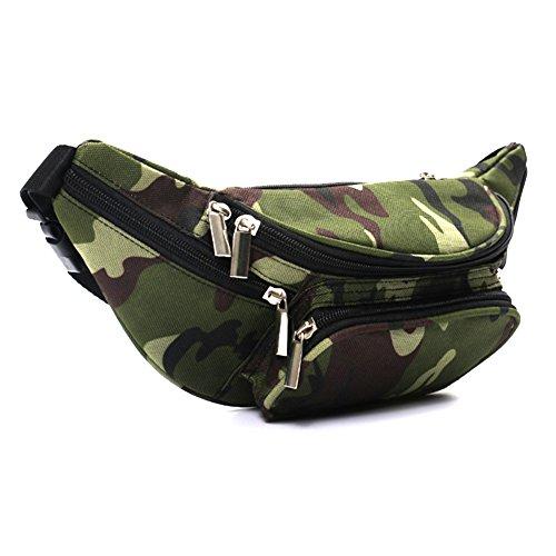 Daliuing Sac banane portable en toile camouflage tactique antivol résistant à l'usure pour homme sport fitness voyage extérieur