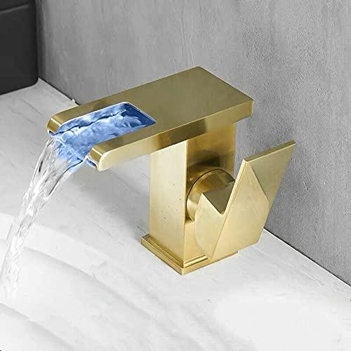 PengTrible Latón caliente y frío baño LED cepillado oro lavabo grifo baño fregadero