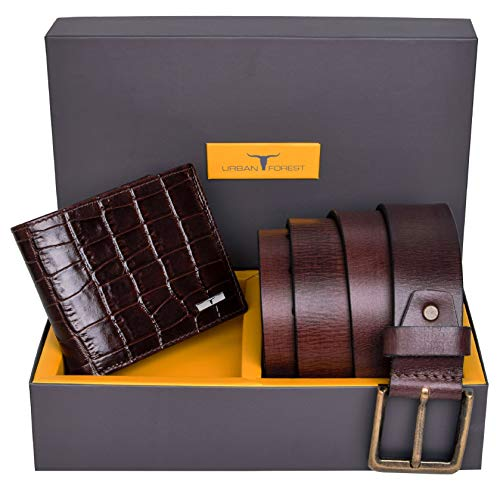 Urban Forest Drew Brown RFID Blocking Printed Leather Wallet & Casual Brown Leather Belt Combo Gift Set for Men