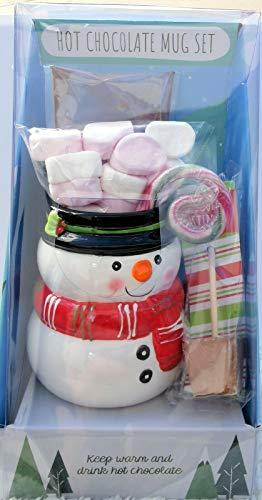 Festliche Keramiktasse mit heißer Schokolade Geschenk-Set Schneemann oder Eisbär (Schneemann)