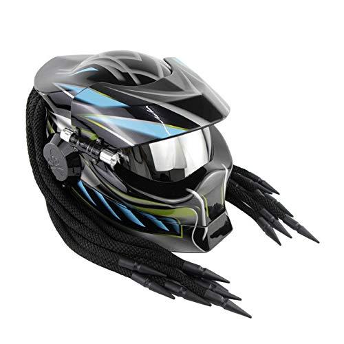 MYSdd Helm Vintage Black Motorradhelm Silver Visor Quick Release Buckle Erhältlich ganzjährig, EPS und Pu-Leder Futter - Schwarz Blau X XL X