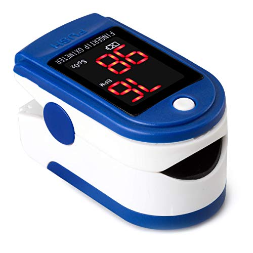 Buyter Finger Tip Pulse Oximeter, Heart Rate Monitor+ Blood Oxygen Saturation Monitor with Led Display SPO2 Pulse Oximeter - Portable Pulse Oximeter Blue with Lanyard