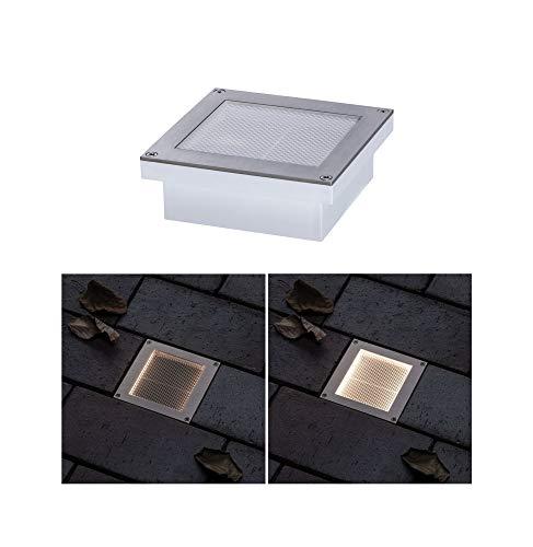 Paulmann 94238 Solar Bodeneinbauleuchte Aron LED Außenleuchte eckig incl. 1x0,7 Watt Schwarz Edelstahl, Kunststoff 3000 K Warmweiß, 0.7 W