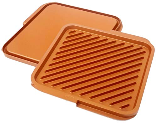 Gotham Steel This Classic Ceramic And Titanium Nonstick Double Grill, lARGE, Brown