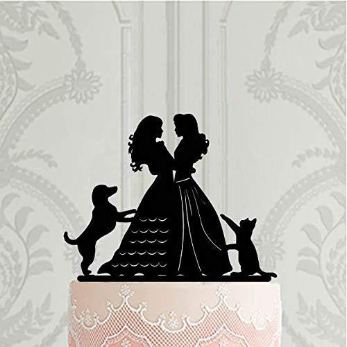 Decoración para tarta con texto en inglés «Mismo sexo», con texto en inglés «Mrs and Mrs» y «2 novias», silueta de perro, gato, lesbiana, decoración para tartas de boda LGBT