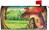 KSLQ Cartoon Red Mushroom House Forest Post Letter Box Cover 21X18in Sunscreen Large Mailbox Covers Durable Mailbox Cover for House